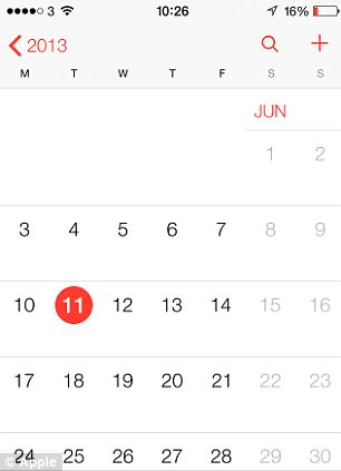 Apple new iOS 7 Calendar view