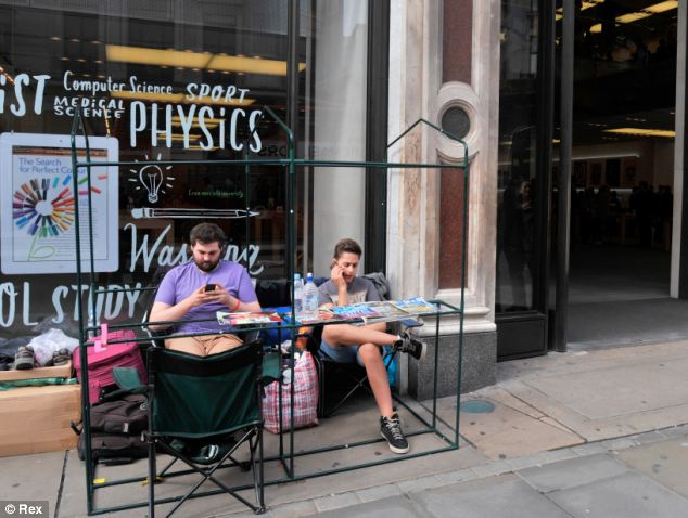 Michael Roberts and Noel Green from London (pictured) have been camping outside Apple's Regent Street store