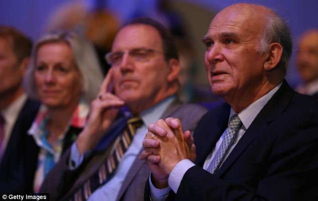 Speech: Mr Clegg told delegates in Glasgow that they should take pride in being in government, watched by (left to right) Lib Dem MP Tessa Munt, deputy leader Simon Hughes and Business Secretary Vince Cable