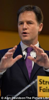 Boast: Mr Clegg said that in an ideal world he would be Prime Minister, and would do a better job than David Cameron and Ed Miliband
