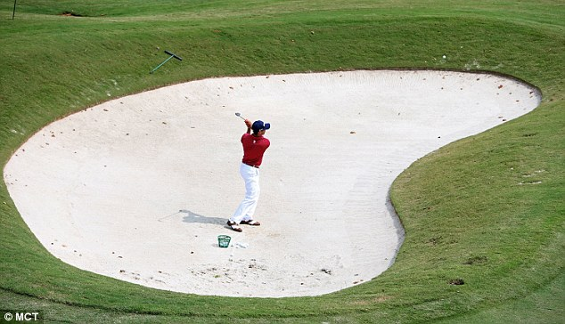 Is that a beach? Billy Horschel hits out of a HUGE bunker during a practice round at East Lake
