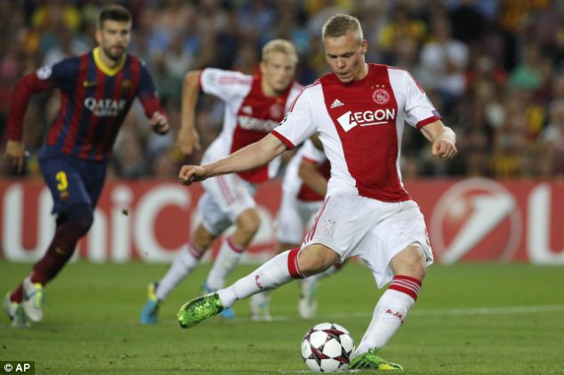Wasted opportunity: Kolbeinn Sigthorsson takes an unsuccessful penalty against Victor Valdes