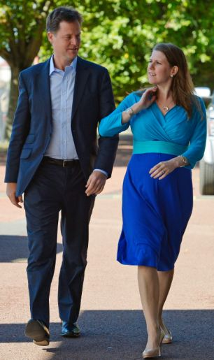 It emerged that Lib Dems complained that Jo Swinson (pictured with Nick Clegg) became pregnant when a minister