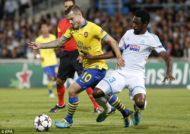 Unimpressive: Jack Wilshere was also awarded a four