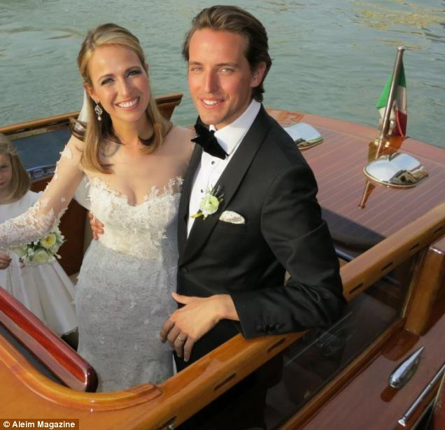 Royal connections: Alexander Gilkes and his wife, fashion designer Misha Nonoo on their wedding day in Venice in August 2012