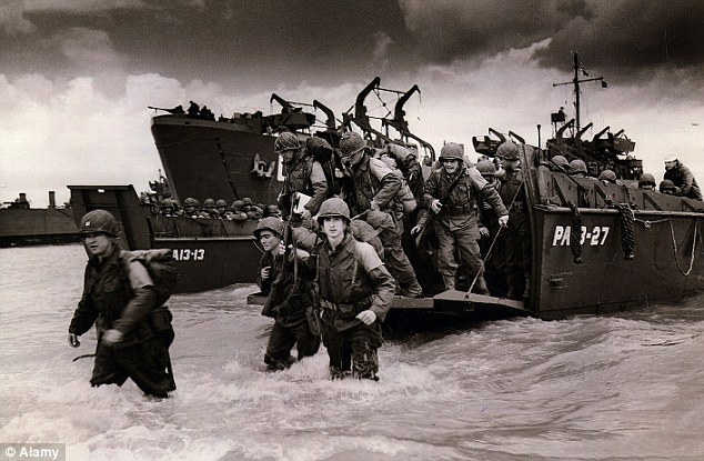 American reinforcement troops arriving on Coast Guard landing barge at Normandy coast, France, World War II, June 1944