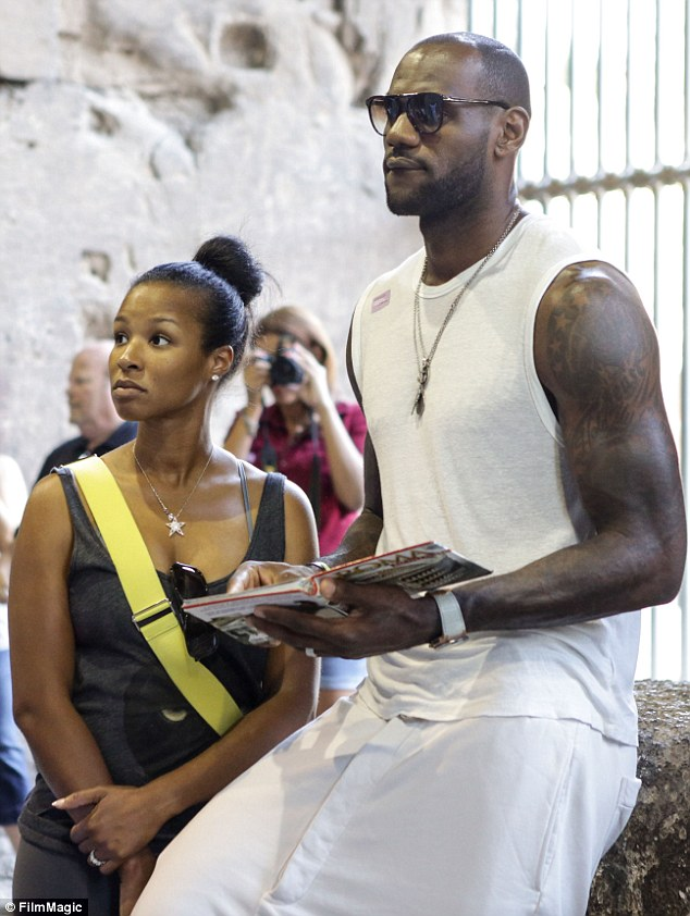 Seeing the sight: LeBron James was spotted with his new bride Savannah at The Colosseum in Rome, Italy, on Wednesday
