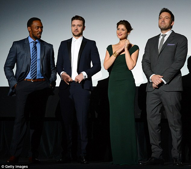 Stars of the show: Co-stars Grey's Anatomy actor Anthony Mackie and British Bond girl Gemma Arterton joined Justin and Ben on the red carpet