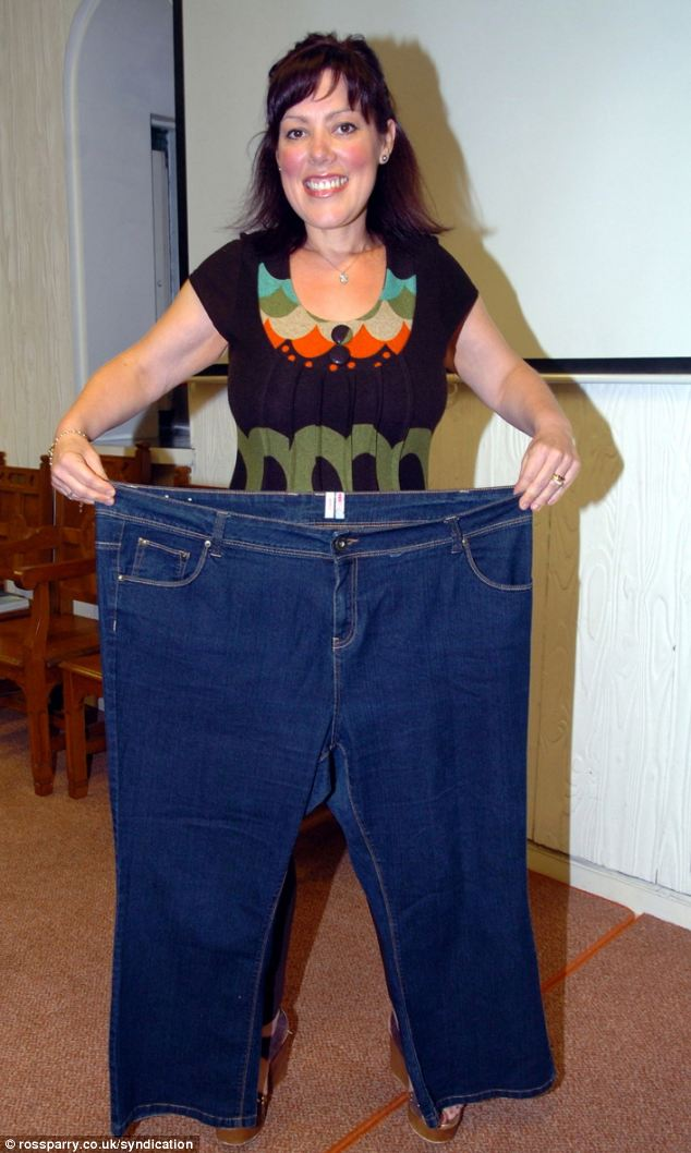 Marcia said: 'Now I have slimmed down I can't believe how big my old clothes are. I have an old pair of jeans and I can actually fit into one of the legs'
