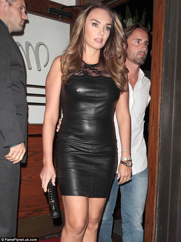 Hell for leather: Tamara Ecclestone wore a leather dress for dinner on Wednesday evening in Los Angeles