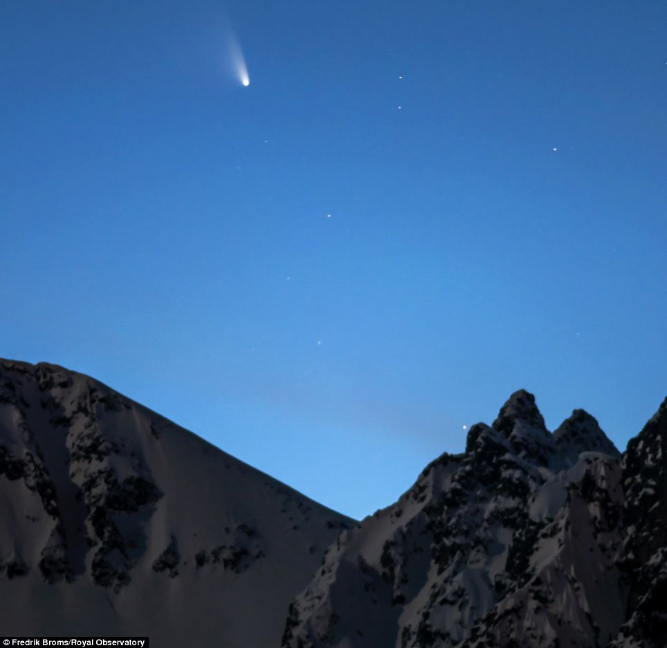 Night sky: Fredrik Broms was also highly commended in the category for this image of the Comet Panstarrs over the mountains in his native Norway