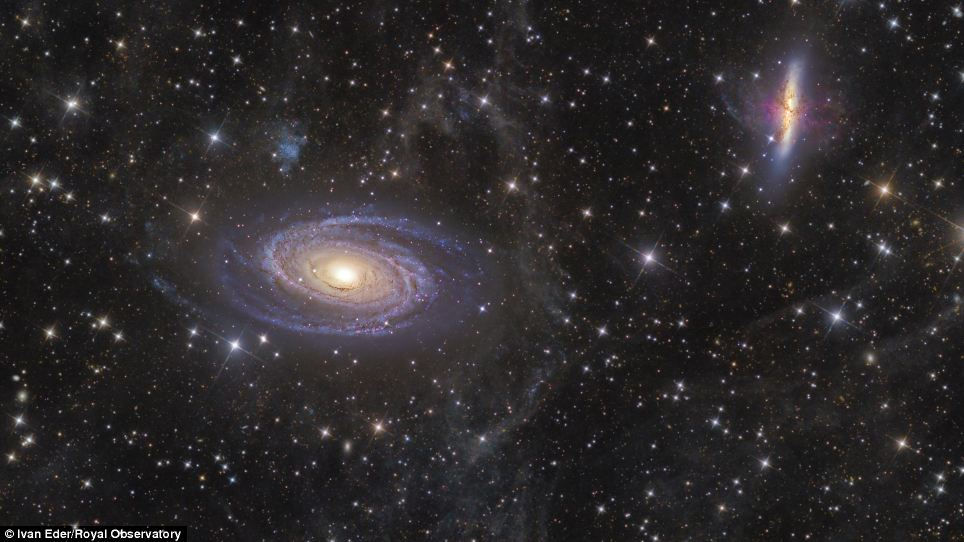Ivan Eder, from Hungary, took this wonderful shot of M81 and M82 galaxies - twelve million light years from Earth. Most of the emission at infrared wavelengths originates from interstellar dust. This dust is found primarily within the galaxy's spiral arms