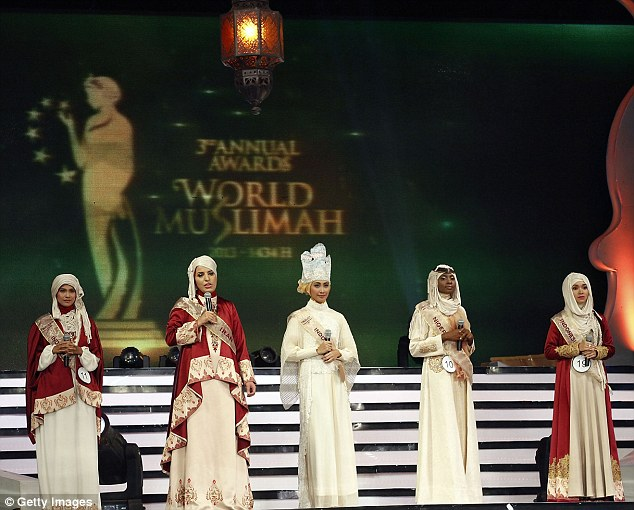 Five of the Muslim women taking part in the competition in Jakarta that judged women on her Islam dress and her knowledge of the Koran