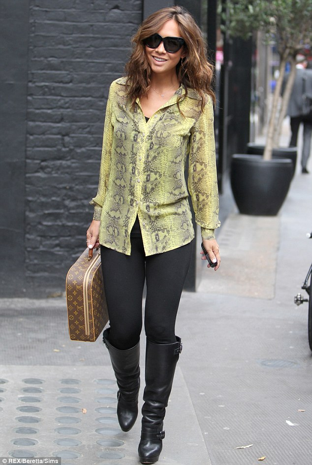 Business lunch: Myleene Klass joins a host of TV faces for a VIP breakfast at The Ivy on Thursday