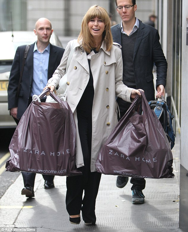Spot of shopping: Kate Garraway arrived with two large Zara Home bags