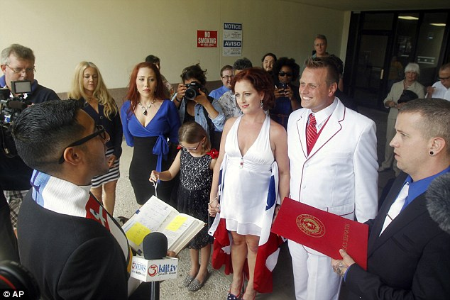 New union: Araguz celebrated a marriage ceremony to her fiance William Loyd in Houston on Wednesday