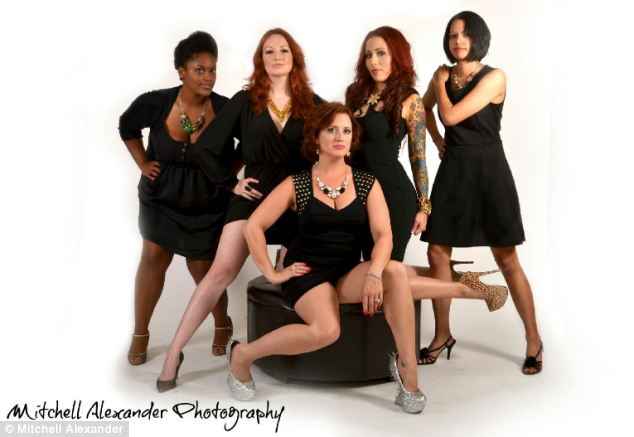New venture: She is pictured with her 'gallery girls' who work at her gallery where she sells handmade jewelry