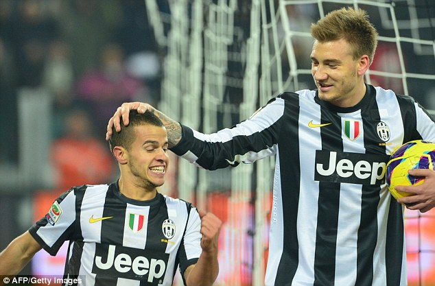 Loan spell: Bendtner, right, has played for Juventus last season