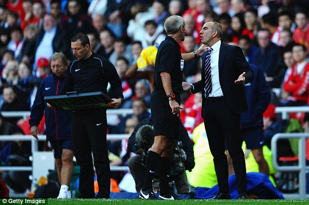 Marching orders: Di Canio was sent off in the last match when Sunderland played Arsenal