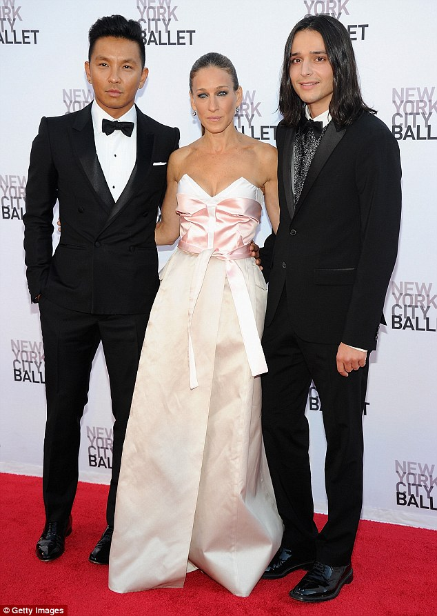 Host with the most: The Sex And The City star, who was a trained dancer, hosted the annual event, and posed on the red carpet alongside designer pals Prabal Gurung (left) and Olivier Theysken