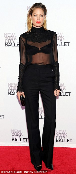 Contrasting style: Sarah Jessica Parker (left) went for ballerina chic in her voluminous silk gown, while Doutzen Kroes added some edge in her all-black ensemble which featured pants and a sheer top