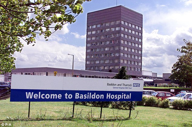 Emergency: The unnamed man was taken to Basildon Hospital in Essex to be treated for his injuries