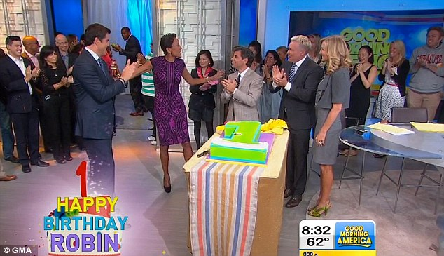 The 52-year-old, who resumed her five-day-a-week schedule on the morning show earlier this month, blew out a singular candle on an enormous red velvet cake from New Jersey's Carlo's Bakery
