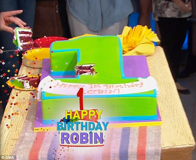 Ms Roberts tweeted: 'Many thanks to @cakebossbuddy @CarlosBakery for the delicious red velvet cake, my favorite! Can¿t wait to share it with everyone @GMA!'