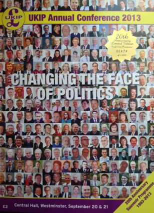 Mr Bloom was accosted by Michael Crick who asked why a party brochure, pictured, only featured white faces