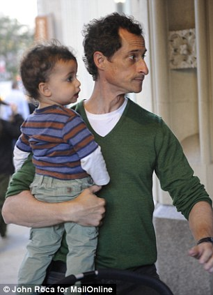 Anthony Weiner with his son outside his Park ave South apartment house today