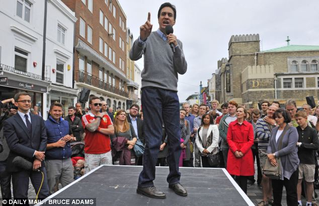 Living costs: Labour leader Ed Miliband used a Q&A session in Brighton to claim he was on the side of ordinary people, but only 23 per cent of people think they would be better off if he became Prime Minister