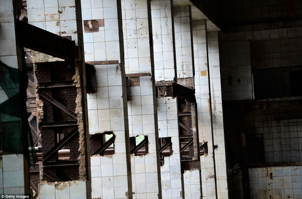 Ruin: Known for its landmark four chimneys, the building is now dirty, damaged and falling apart