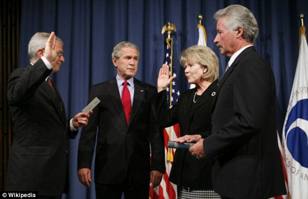 At the White House: Mary Peters being sworn in as U.S. transport secretary in George W Bush's administration from 2006 until 2009