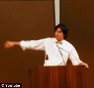 Back in the day: Steve Jobs was only 28-years-old at the time of the conference where the tube was buried