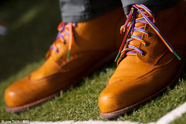 Boot it out: BT Sport pundit David James wore the laces as he covered the game