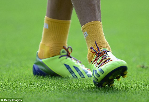 Rainbow laces worn by Norwich