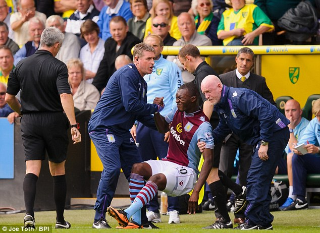 Injury blow: Villa's star man had to be helped as he collapsed after attempting to re-enter the pitch