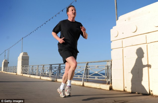 Run for victory: David Cameron is an avid jogger, seen here running along Blackpool's seafront just days ahead of the 2010 General Election