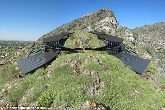 Slotted in: The design straddles Mummy Mountain to make the most of the views
