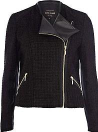 Black tweed biker jacket £30
