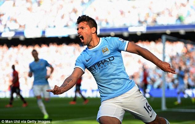At the double: Argentina hitman Sergio Aguero still leads Man City's scoring charts despite his recent injury