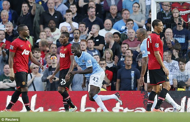 Demolition derby: Manchester City thumped local rival United 4-1 at the Etihad Stadium earlier in the season