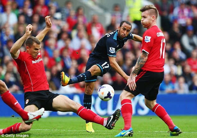 Peppered: Tottenham had plenty of chances - Andros Townsend with one of them