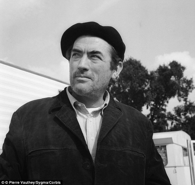 On set: The American actor dons a beret while on the set of a film shoot in 1955 in Paris
