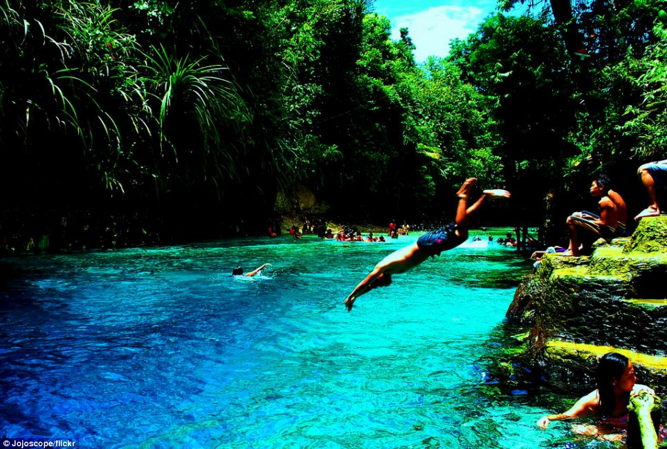 Idyll: The 50ft deep waters are popular with sunbathers, swimmers and those who wish to practice their diving skills