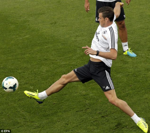 Prepared: Bale takes part in Madrid training on Saturday