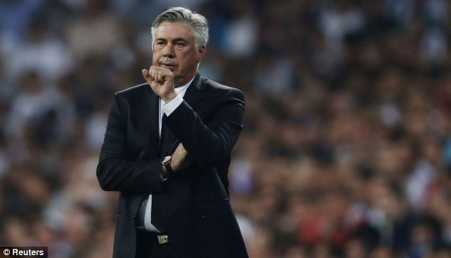 Calm: Ancelotti watches his side come from behind to beat Getafe at home