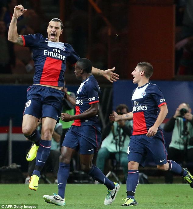 Net gains: Zlatan Ibrahimovic celebrates scoring the opening goal