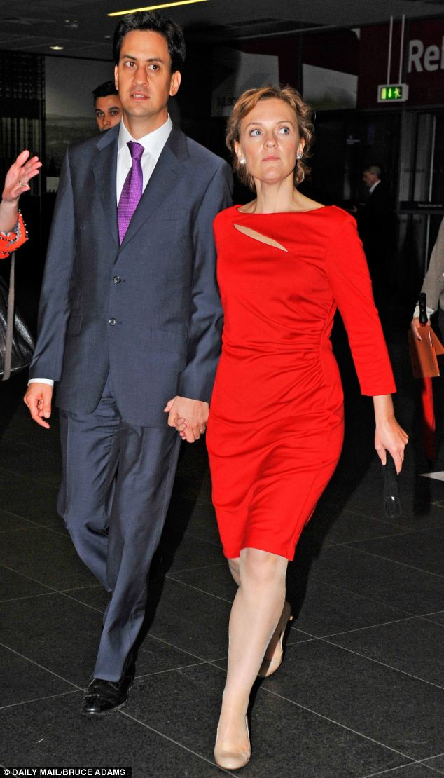 Flashback: Last year Mrs Miliband impressed the delegates with a bright red dress from WithSleeves and nude heels from LK Bennett