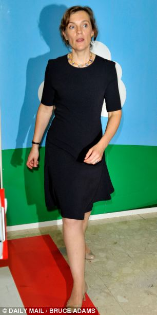 Stepping out: Mrs Miliband toured the conference exhibition stands at the Brighton Centre